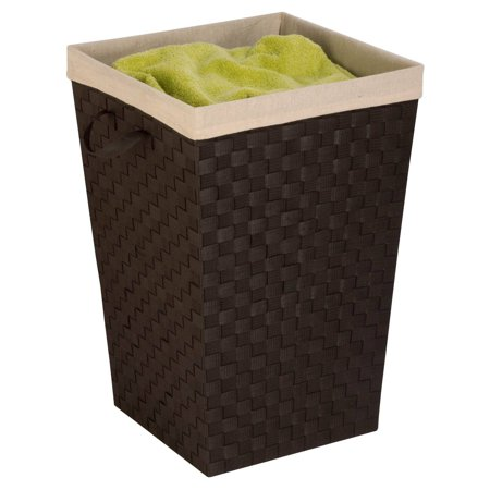 Honey Can Do Woven Strap Hamper with Liner and Steel Frame, Espresso Black