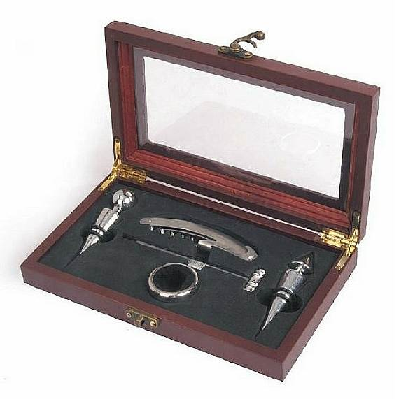 Two Bottle Stopper Wine Set with Corkscrew and Storage Case