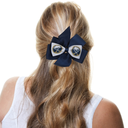 Buffalo Sabres Fan Bow - Navy Blue/White - No Size
