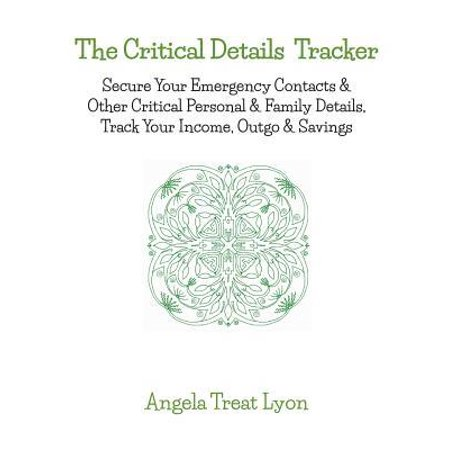 The Critical Details Tracker : Keep Your Details Safe, Track Your Money, Secure Your Important & Emergency Contacts & Other Critical Personal & Family Details. 66 pages, 8.5