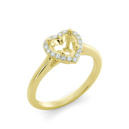 (Heart Halo Round Diamond Solitaire Semi Mount Engagement Ring 14k Yellow Gold)