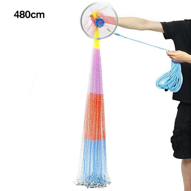 8ft Hand Cast Fishing Net Spin Network Easy Throw Bait Nylon Mesh NEW