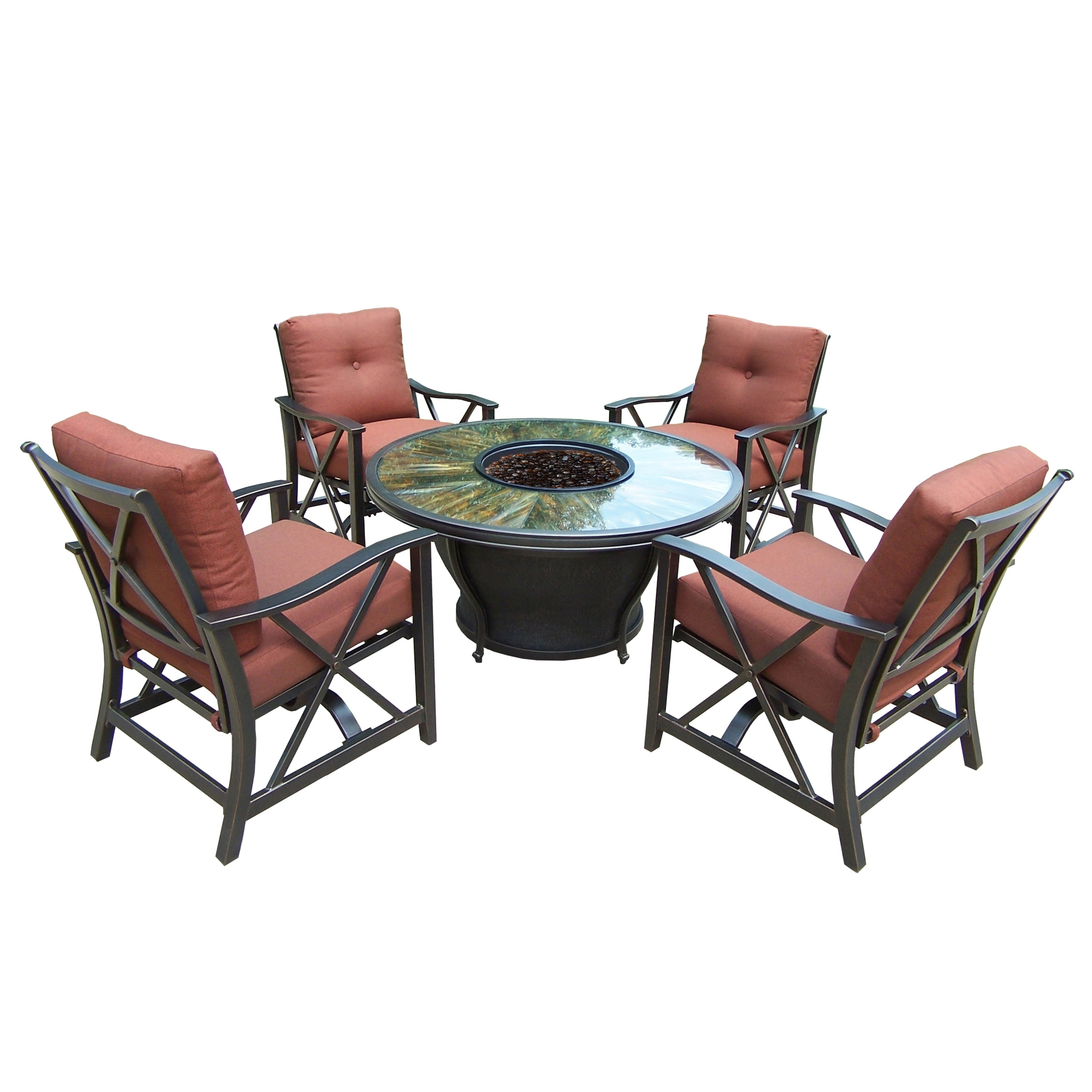 """Oakland Living Corporation Round 48x24"""" Tempered Glass Gas Firepit Table Set with Burner System, Fire Beads, Cover and Four Red Cushioned Rocking"""