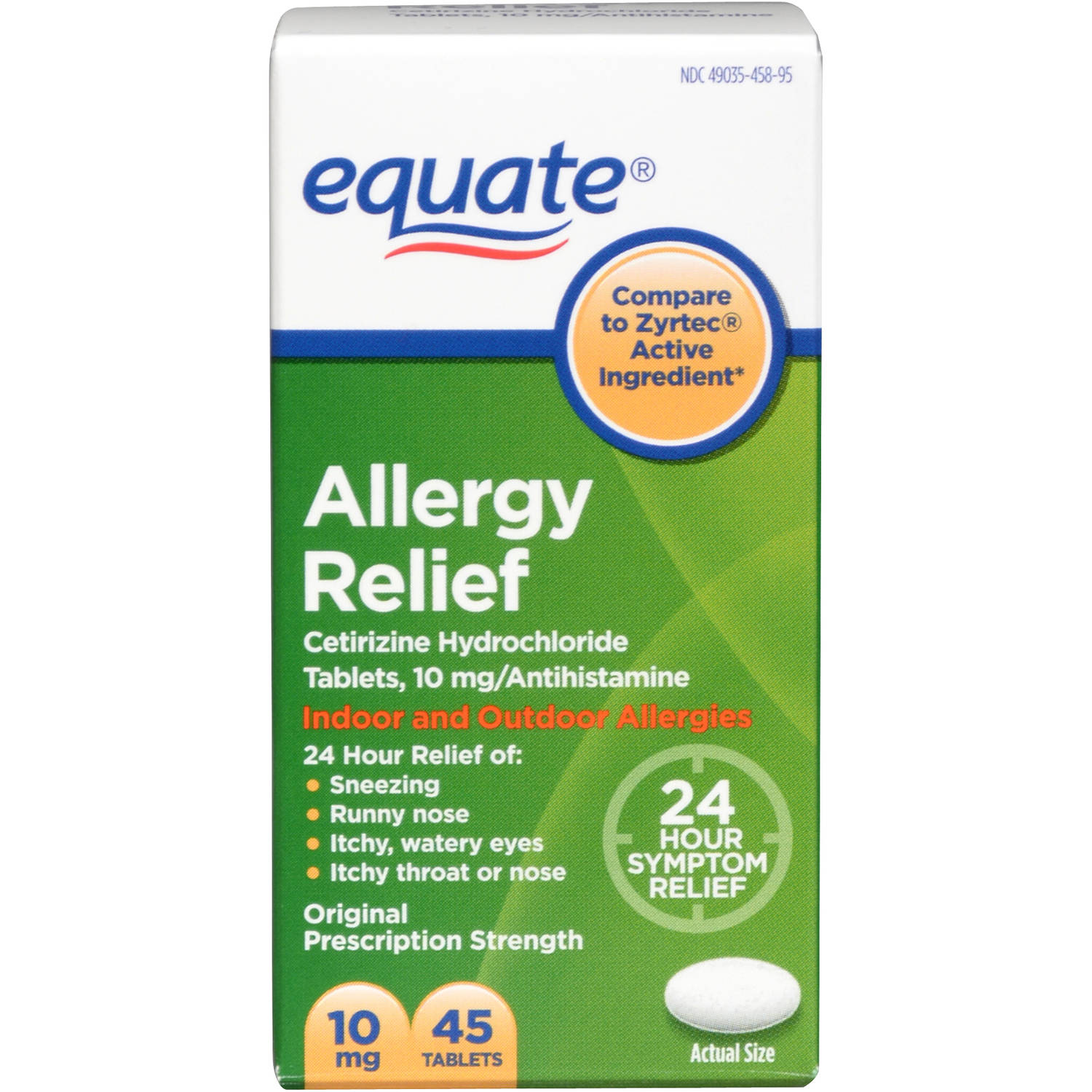 Equate Allergy 24 Hour Indoor & Outdoor Tablets 45 Ct