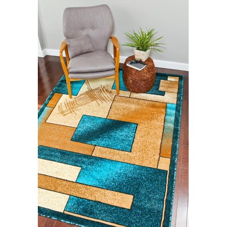 Persian Rugs 657 Turquoise Modern Abstract Area Rug 4x5