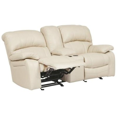 Ashley Damacio Leather Glider Reclining Loveseat With Console In Cream