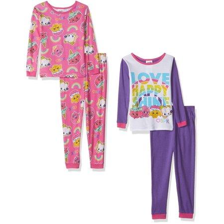 Shopkins Girls' Cotton Pajama-4-Piece Set, Merry Mauve, Size: 4