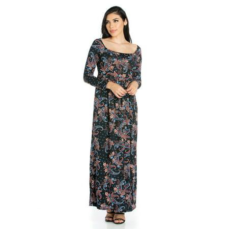 24seven Comfort Apparel Paisley Empire Waist Long Sleeve Maxi Dress