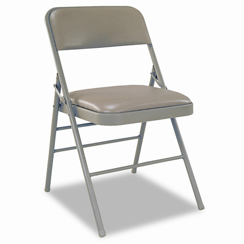 Cosco Deluxe Vinyl Padded Seat and Back Folding Chairs, Taupe, Four/Carton