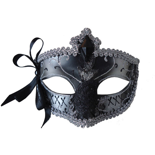 Silver and Black Mardi Gras Eye Mask Adult Halloween Accessory