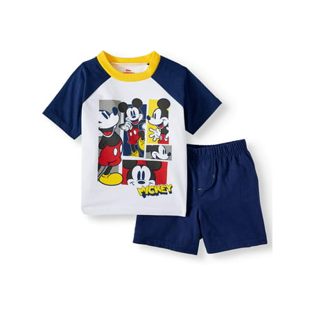Mickey Mouse Outfit For Toddlers (Mickey Mouse Short Sleeve Graphic Raglan T-shirt & Twill Short, 2pc Outfit Set (Toddler)
