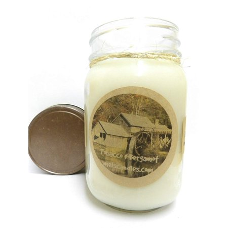 Mels Candles Tobacco and Bergamot 16oz All Natural Soy Candle Made with Essential Oil - Aproximate Burn Time 144 Hours