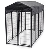 Lucky Dog Single-Door Outdoor Welded Wire Pet Kennel with Cover, Black, 8'L x 4'W x 6'H