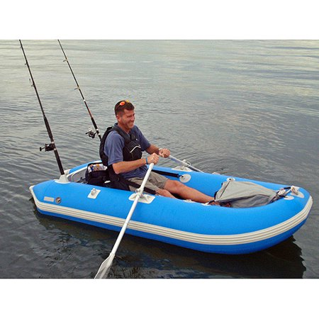 Catamaran style 1 person inflatable fishing boat for Inflatable fishing boats