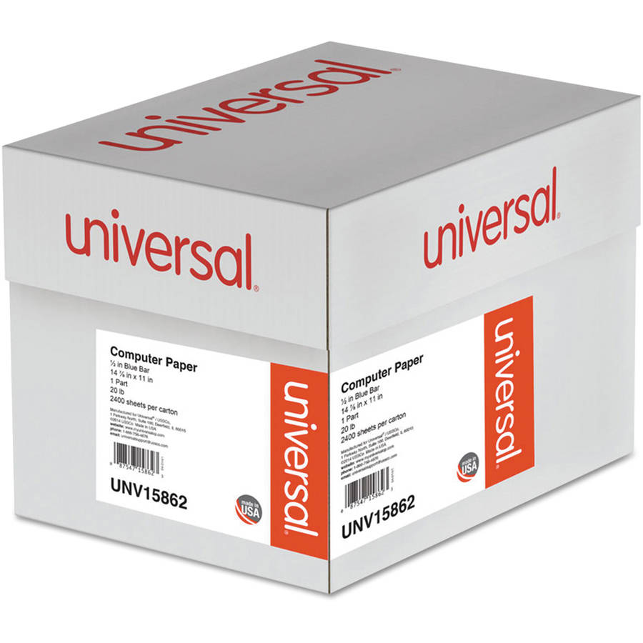 "Universal Blue Bar Computer Paper, 20lb, 14-7/8"" x 11"", Perforated Margins, 2400 Sheets"