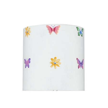 Aspen Creative 31062 Transitional Drum (Cylinder) Shaped Spider Construction Lamp Shade in White with Butterfly & Flowers, 8