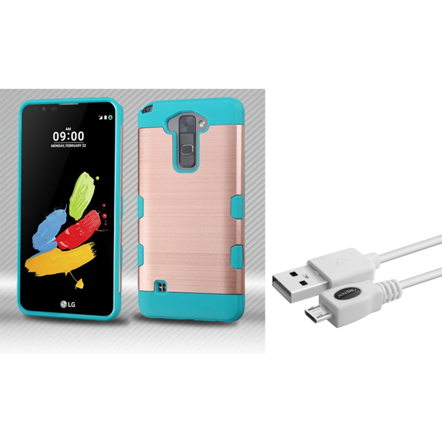 Insten Hard TPU Case For LG Stylus 2 - Rose Gold/Blue (+ Micro USB Charge Cable)