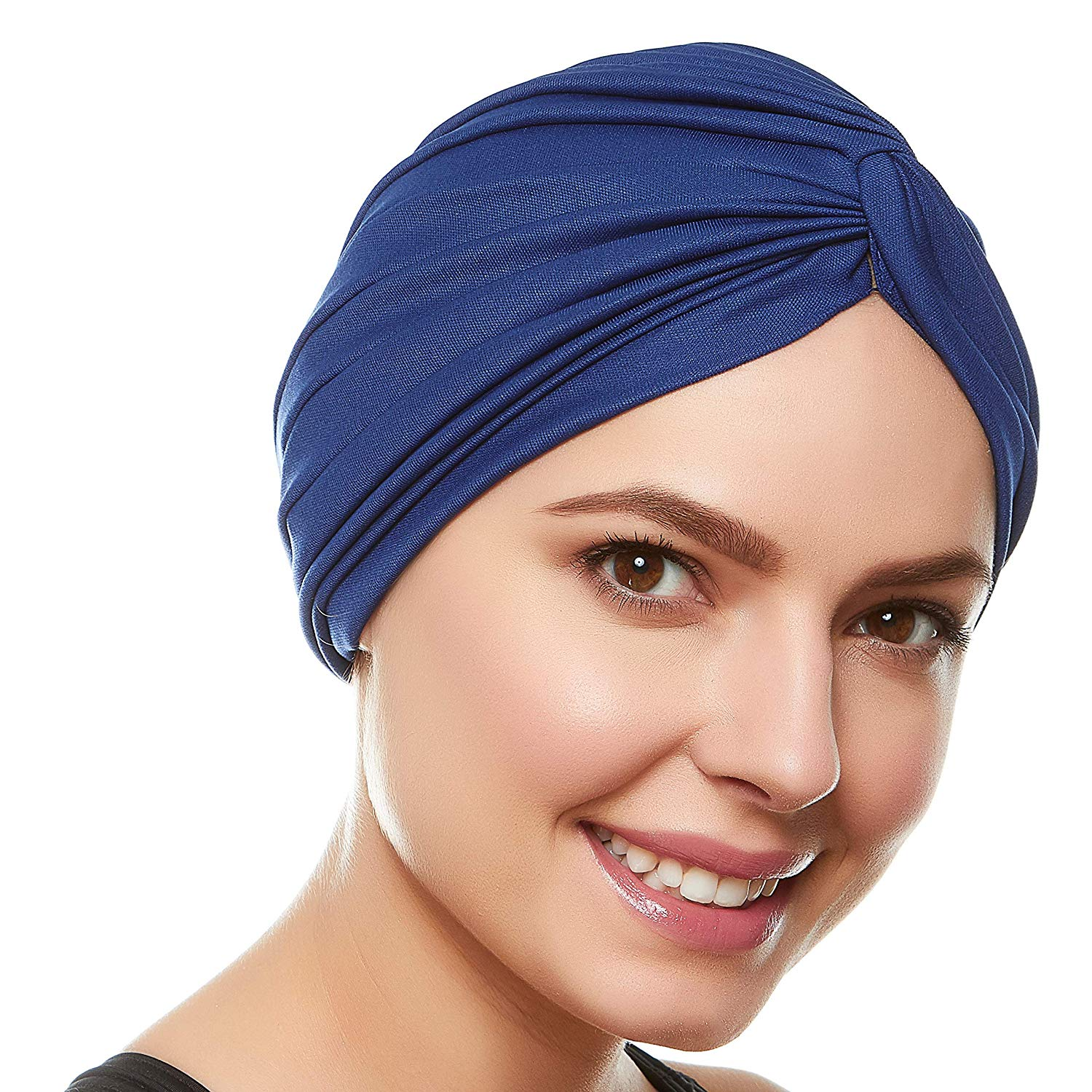 Twisted Pleated Stretchable Polyester Women's Swim Bathing Turban Head Cover / Sun Cap - Black