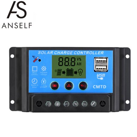 Anself 10A 12V/24V Solar Charge Controller with LCD Display Auto Regulator Timer Solar Panel Battery Lamp LED Lighting Overload Protection