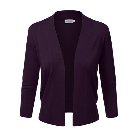 Doublju Women's Basic 3/4 Sleeve Open Front Cropped Cardigan DARKPURPLE XL Neck Cropped Cardigan