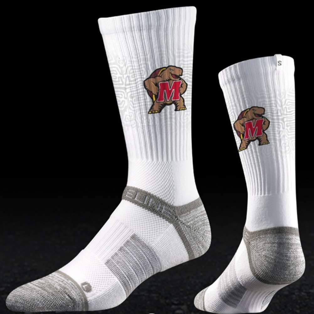 Maryland Terrapins Strideline Strapped Fit 2.0 Socks - White