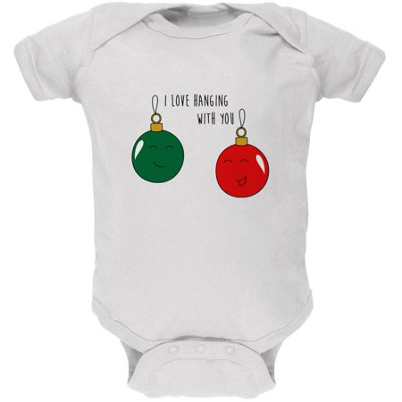 Cute Christmas Puns.Christmas I Love Hanging With You Ornament Pun Soft Baby One Piece