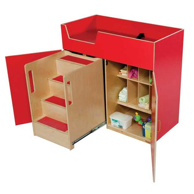 Wood Designs 21075R Strawberry Red Deluxe Changing Table with Safety Steps