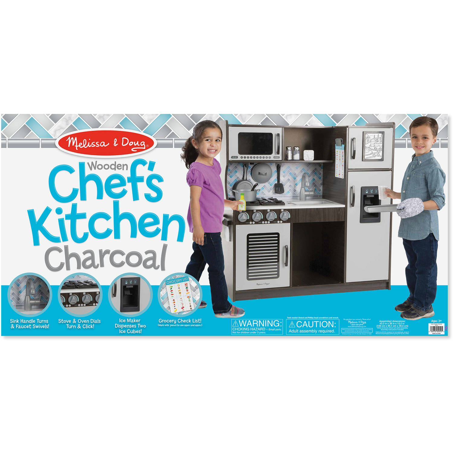 Melissa & Doug Chef\'s Kitchen Pretend Play Set - Charcoal - Walmart.com