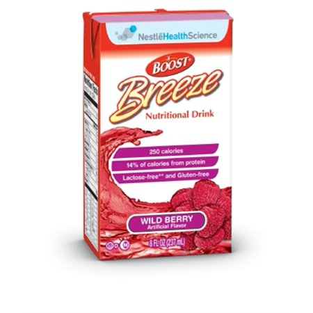 Boost Breeze Wild Berry, 8 Ounce, Nutritional Supplement by Nestle - Case of 27 (Nestles Boost)