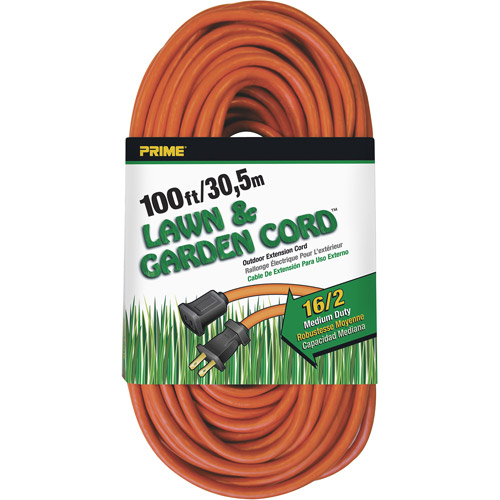 Prime Wire 100-Foot 16/2 SJTW Lawn and Garden Outdoor Extension Cord, Orange