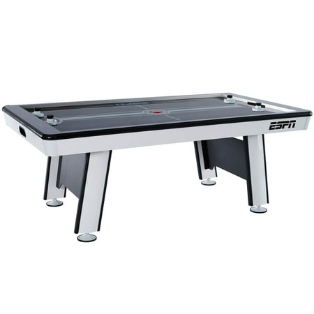 84 Inch Air Hockey Table - ESPN Premium 84 Inch Air Powered Hockey Table with LED Touch Screen Scorer, High Gloss Finish, UL Certified Fan Motor, 7 Ft., Black/Grey