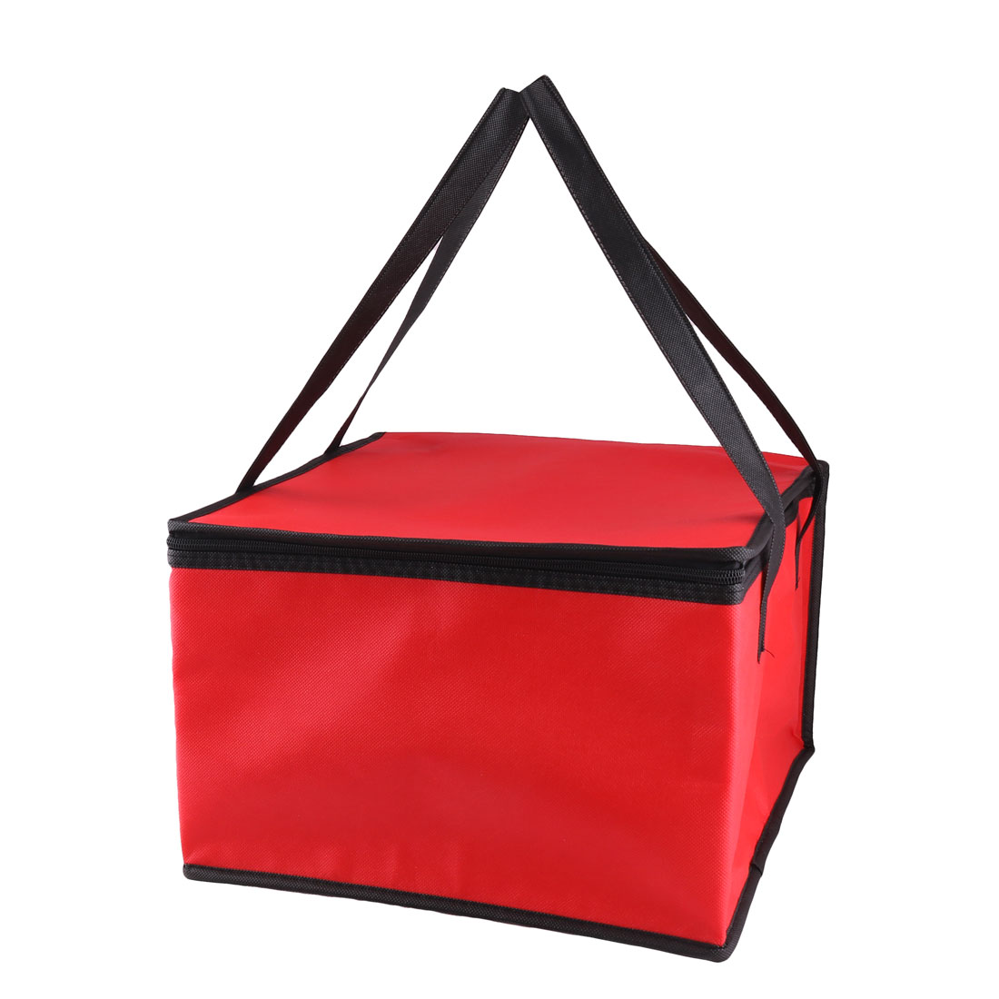 Home Kitchen Red Zippered Shoulder Strap Portable Food Cooler Lunch Tote Picnic Bag