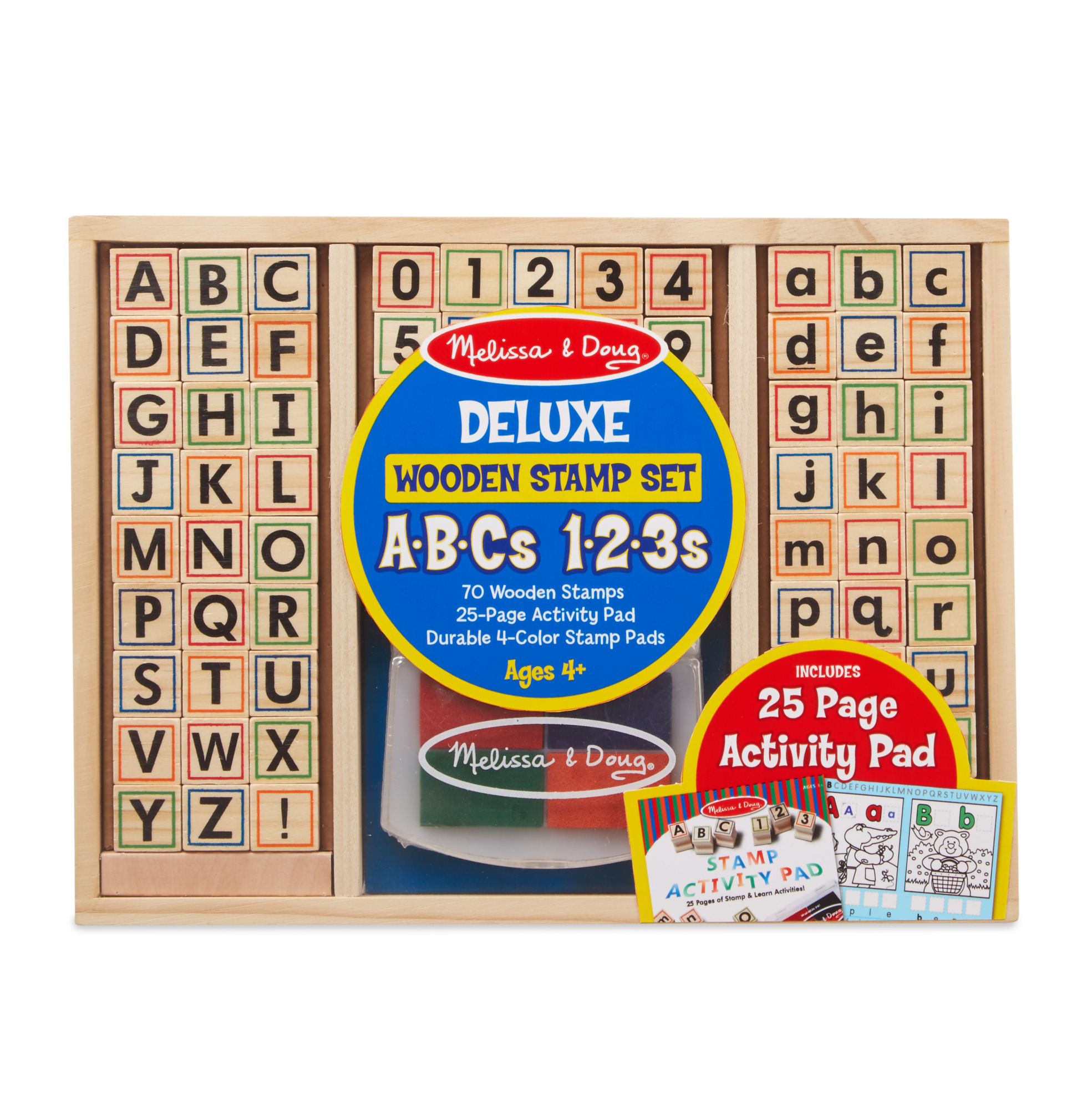 Melissa & Doug Deluxe Letters and Numbers Wooden Stamp Set ABCs 123s With Activity Book, 4-Color Stamp Pad