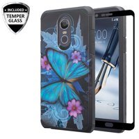 LG Stylo 4/LG Stylo 4 Plus Case Cover w/[ Temper Glass Screen Protector] Silicone Shock Proof Dual Layer Cute Girls Women Case Cover for LG Stylo 4/Stylo 4 Plus - Blue Buttery