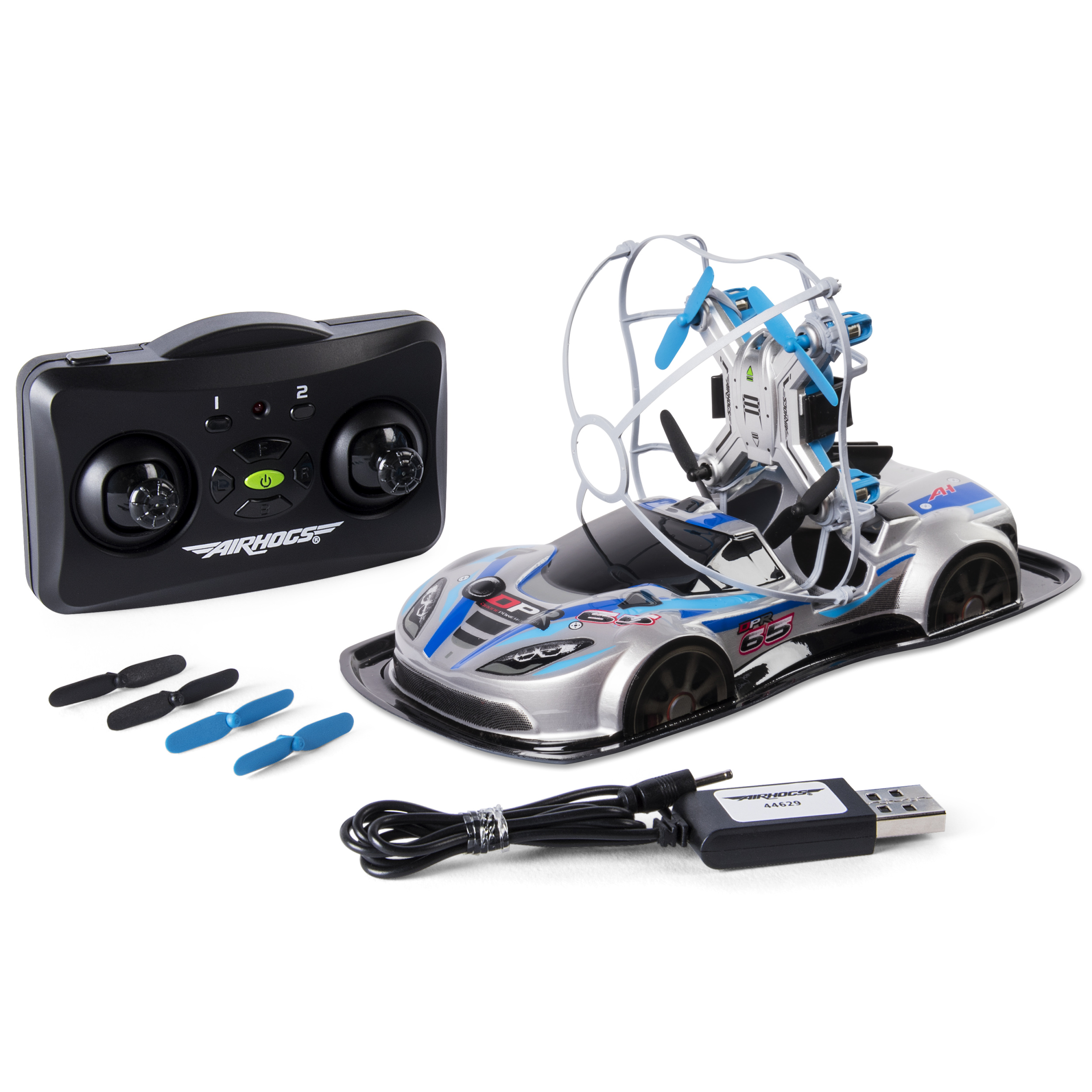 <p>Air Hogs – 2-in-1 Drone Power Racers for Driving and Flying – Sports Car – Blue</p>
