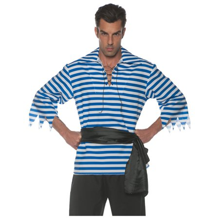 Men's Blue And White Striped Pirate Costume Shirt