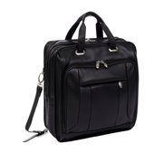 McKlein RIVER WEST, Fly-Through Checkpoint-Friendly Laptop Briefcase, Pebble Grain Calfskin Leather, Black (15715)