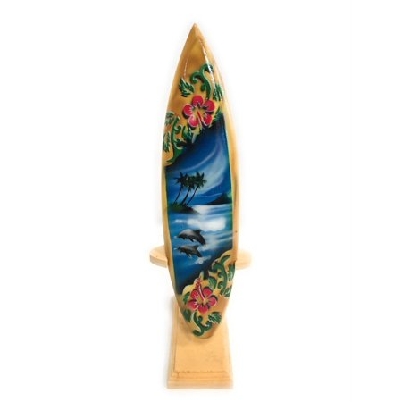 Surfboard w/ Stand Dolphins & Hibiscus Design 8