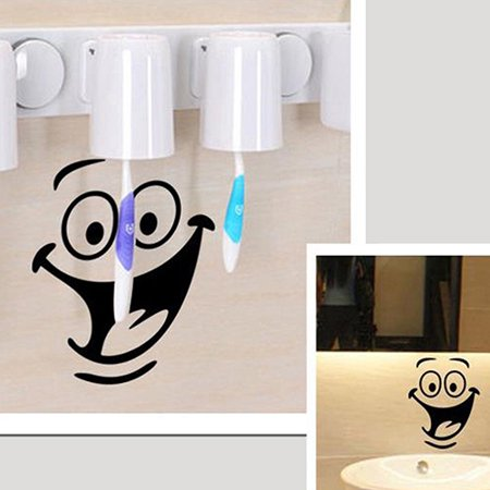 Girl12Queen Smiley Face WC Toilet Decal Room Art Decor Funny Bathroom Kitchen Wall - Wc Decor