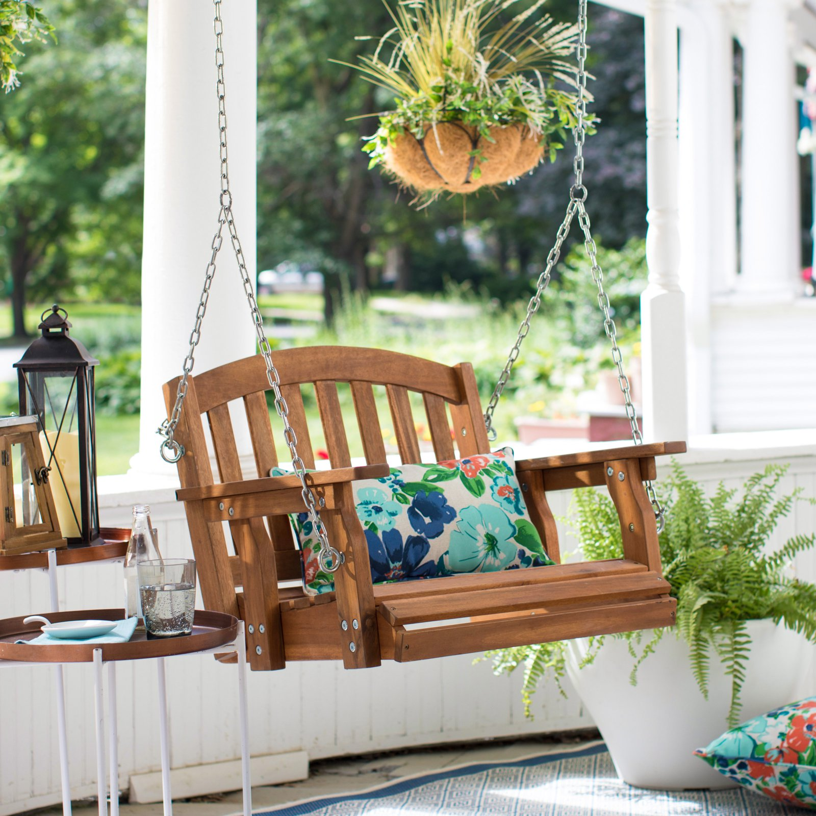 Coral Coast Amherst Single Seat Wood Porch Swing Natural by