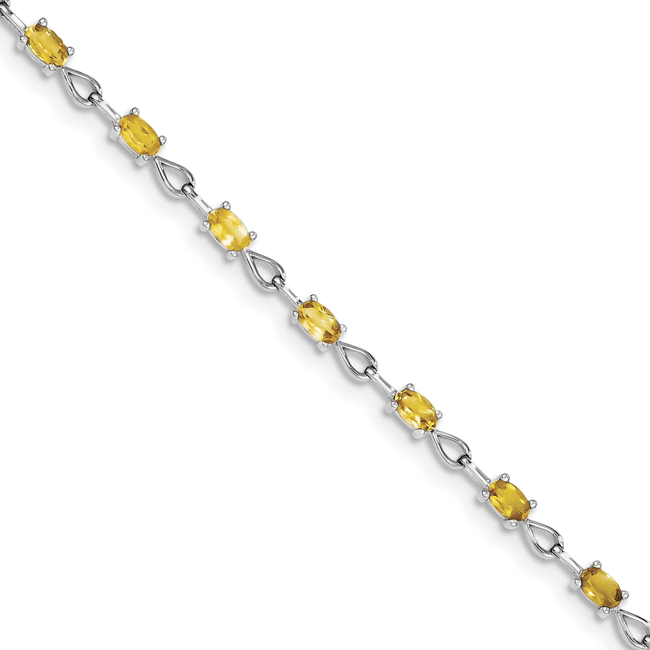 Roy Rose Jewelry Sterling Silver Citrine Bracelet ~ Length 7.5'' inches by