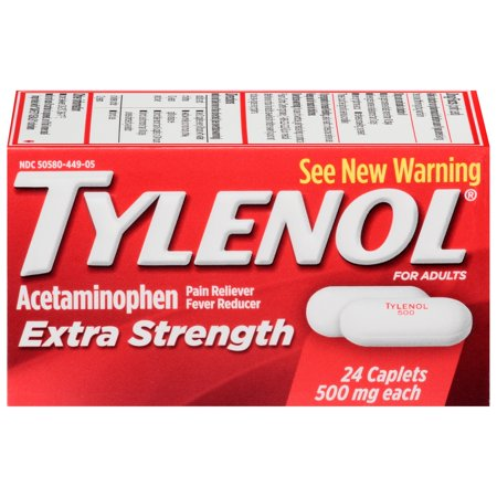 TYLENOL caplets supplémentaires de résistance, 500 mg, 24 Count