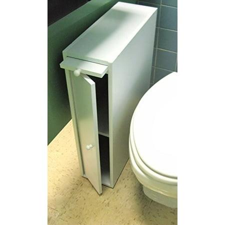 "24"" Wood Slim Bathroom Cabinet Stand - White - Walmart.com"
