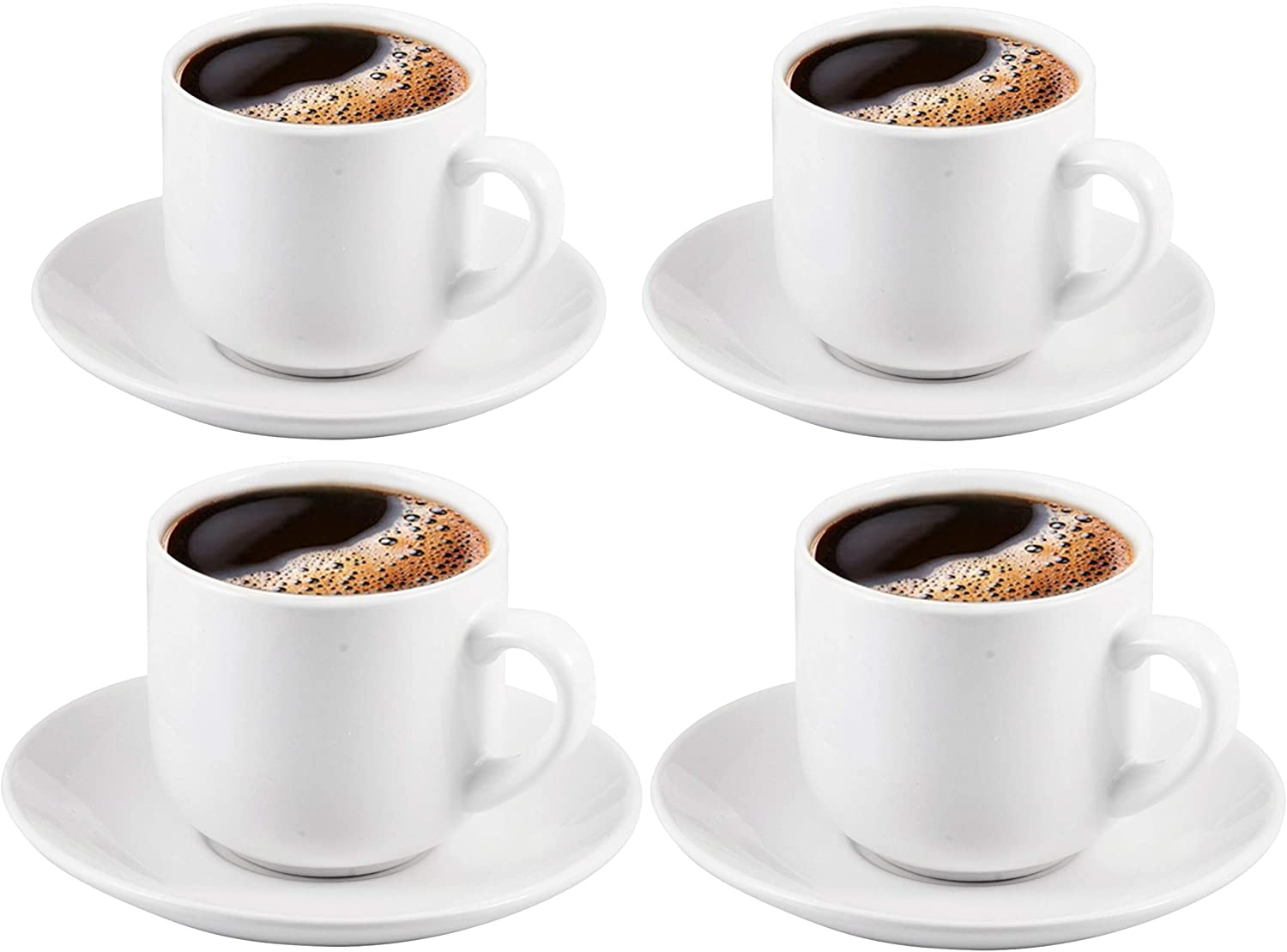 Bruntmor 4 Oz Espresso Cups And Saucers Set, Made Of Pro ...