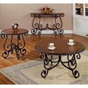 Crowley 3 Pc Table Set w Inlaid Tops in Cherry Finish