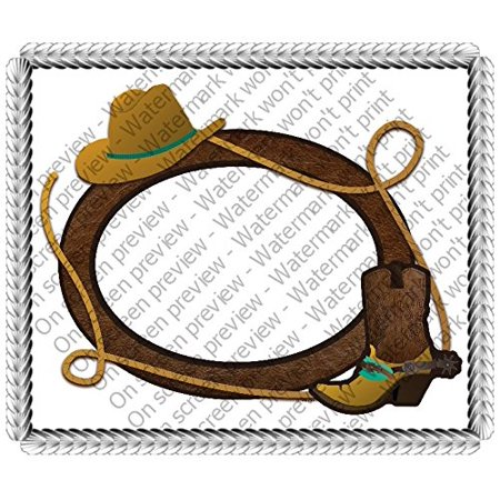 Cowboy Photo Cake Edible Image Cake Topper Decoration Edible Icing Image Cake Topper ~Personalized with your Picture and Writing (1/4 - Cowboy Cake