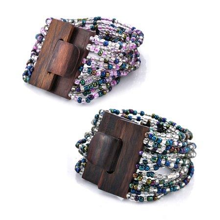 Purple Peacock Seed Bead Set of 2 Bracelet with Wooden Buckle Stretch Seed Bead Crosses Bracelet