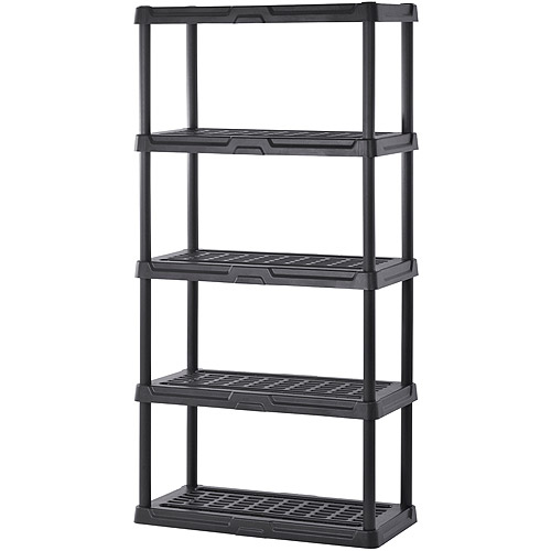 "Muscle Rack 36""W x 24""D x 72""H Five-Shelf Resin Shelving, Black"