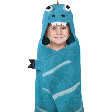 """Deluxe Hooded Towels for Kids, 100% Cotton Terry, Oversized 26"""" x 45"""", Perfect for the Bath, Pool, & the Beach- Blue/Orange Dino"""
