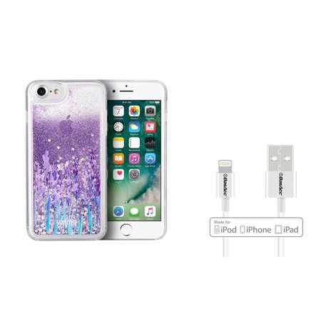 Insten Waterfall Liquid Love & Lavender TPU Rubber Candy Skin Case Cover For Apple iPhone 7/8 - Purple (Bundle with MFI Lightning cable)